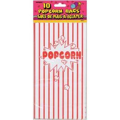 Popcorn - Paper Party Bags 10 inchX5.25 inch 10/Pkg, Yellow
