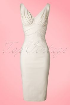 Stop Staring! TopVintage Exclusive ~ 50s Maeve Pencil Dress in Ivory