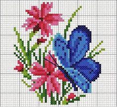 Cross-stitch Etamin Butterfly Templates - Handmade That Butterfly Cross Stitch, Mini Cross Stitch, Cross Stitch Heart, Cross Stitch Cards, Cross Stitch Flowers, Cross Stitching, Cross Stitch Embroidery, Funny Cross Stitch Patterns, Cross Stitch Designs