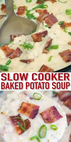 Appetizer Recipes Discover Slow Cooker Baked Potato Soup [VIDEO] - Sweet and Savory Meals Slow Cooker Baked Potato Soup is creamy and comforting budget-friendly and also very easy to make! Perfect for a weeknight meal. Slow Cooker Soup, Slow Cooker Recipes, Cooking Recipes, Slow Cooker Potatoes, Slow Cooker Lasagna, Healthy Slow Cooker, Slow Cooker Chicken, Slow Cooking, Cooking Tools