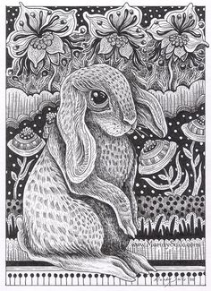 "8 x 10"" PRINT - Rabbit Ink Drawing 19 Rabbit Art, Canadian Artist, Animal, Whimsical Drawing, Whimsy,Cute, Sweet, Wall Decor, Children's art"