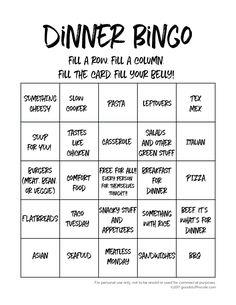 Dinner Bingo Meal Pl
