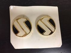 Vintage Retro Clip On Fashion Earrings - Circle, Black, White, Gold NEW (NOS) | Jewelry & Watches, Vintage & Antique Jewelry, Costume | eBay!