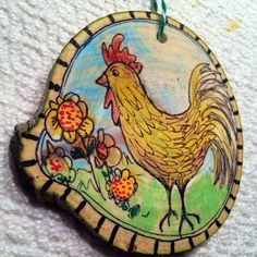 Chicken ornament from beautiful Colorado aspen trees. Wood slice ornament are a beautiful addition to any christmas tree.