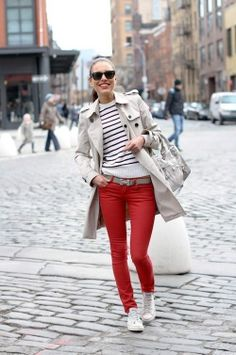 Olya. Love everything about this look. Just classic- Hermes belt, stripped shirt, trench and white converse.