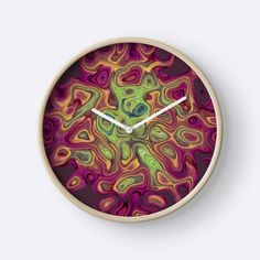 Colorful Magenta Fluid Abstract Clocks #Liquid #Abstract #Flowing #Marble #Fluid #Splash #Pattern #Colorful #Magenta #clocks #homedecor Modern printed polypropylene face without plexiglass Bamboo wood frame with natural finish or painted black or white 4 customisable metal hand colours to choose from Quartz clock mechanism (AA battery not included) Built in hook at back for easy hanging