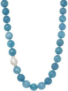 J&H DESIGNS ROX by Alexa Genuine Aquamarine Beaded Necklace