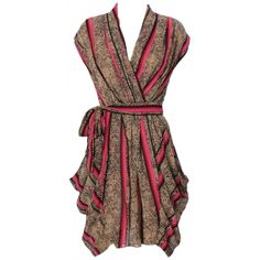 Clothing :: Dresses :: Glamour Dresses :: 'Efia' Natural Print Pink Stripe Chiffon Wrap Dress - Celeb Boutique - Celebrity Style At High Street Prices! - StyleSays