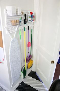 21 of the Best Laundry Room Hacks Behind the door storage solution to keep your laundry room organized! 21 of the Best Laundry Room Hacks Behind the door storage solution to keep your laundry room organized! Laundry Room Organization, Laundry Room Design, Storage Organization, Storage Shelves, Small Shelves, Behind Door Storage, Ironing Board Storage, Laundry Organizer, Small Apartment Organization