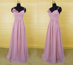Pink spaghetti v-neck long bridesmaid dress, chiffon bridesmaid dresses with handmade flowers, wedding party dress, formal dress DP111
