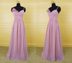 Pink spaghetti v-neck long bridesmaid dress, chiffon bridesmaid dresses with handmade flowers, wedding party dress, formal dress DP111