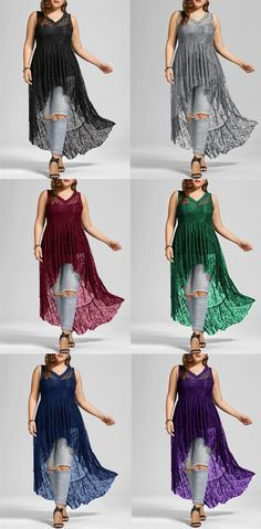 See Through High Low Lace Plus Size Top