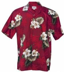 Hibiscus Floral - Mens Hawaiian Aloha Shirt - Red
