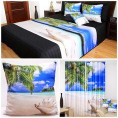 Niebieski komplet do sypialni z morzem palmami i piaskiem