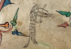 Cat and fiddle: Marginalia from medieval ms.