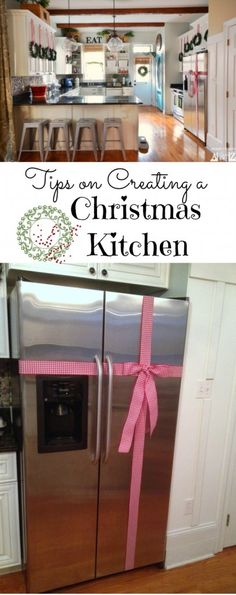 Tips on creating a Christmas kitchen. Easy inexpensive tips and tricks that anyone can do.