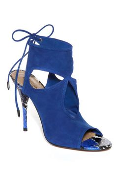 Sexy Thing Bootie by Aquazzura Now Available on Lauren Santo Domingo's Moda Operandi #booties #heels #blue