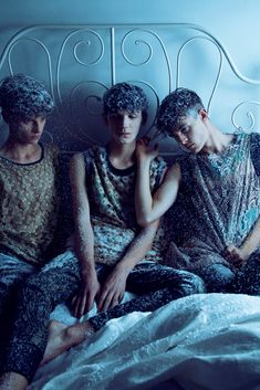 There were three male models in the bed and the little one said...