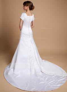 Forme Princesse Encolure carrée Traîne cathédrale Satin Robe de mariée avec Plissé Emperler (002014719) - JJsHouse