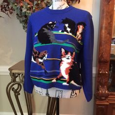 Vintage SUSAN BRISTOL Cat Sweater. Acrylic & cotton, gorgeous colors.  A must have for cat lovers! Susan Bristol Sweaters