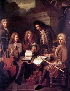 Les Ordinaires de la musique du roi, toile d'André Bouys (vers 1710). Antoine Forqueray est assis à gauche. Michel de la Barre est debout.Les flûsites sont soi les frères Hotteterre, soi Descoteaux et Philiber.