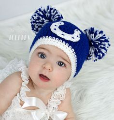Crocheted Indianapolis Colts Hat by TinyTippyToppers on Etsy, $26.00