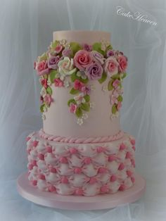 Pink Roses and Billowing Cake - Cake by Marlene - CakeHeaven