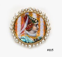 Limoges enamel, natural pearl, cushion-cut diamond and gold portrait brooch. Charlton & Co.