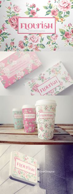 Bakery ? Coffee Shop ? Pink or Blue? You name it! Flourish - Branding for Cake Shop #packaging #design