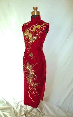 70s Ruby Red Velvet Mulan Dragon Lady Dress Asian Mandarin
