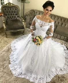 Elegant Off-the-shoulder Lace Wedding Gown Long Sleeves sold by NarsBridal. Shop more products from NarsBridal on Storenvy, the home of independent small businesses all over the world. Yes To The Dress, I Dress, Lace Dress, Beautiful Bride, Wedding Gowns, Lace Wedding, Designer Dresses, Marie, Dream Wedding