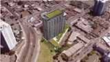"""Affordable Housing Now  An Oakland solidarity statement and open letter to members of the Oakland City Council.: Rendering from Urban Core's """"Lake Merritt Boulevard Apartments"""" proposal submitted to city of Oakland on February 15, 2013."""