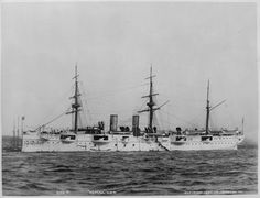"""USS Newark (C-1) circa 1891.The first of the """"protected cruisers"""" class, Newark served and participated in the Spanish American War, Philippine Insurrection and the Boxer Rebellion. She also served as a hospital ship during World War I and later was transferred to the Public Health Service. She was returned to the Navy and sold for scrap in 1926."""