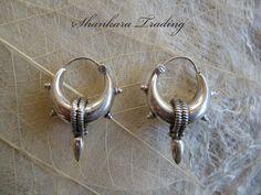 Tribal Silver Earrings Small Spike Hoops Indian By Shankaratrading