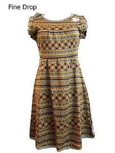 Blutsgeschwister plaid fall dress Kleid Strickkleid Kränzchen Muster kurzarm Puffärmel