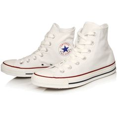 Converse White Chuck Taylor All Star Hi Top Trainers ($76) ❤ liked on Polyvore featuring shoes, sneakers, converse, flats, canvas high top sneakers, white sneakers, canvas flats, converse high tops and white flats