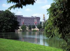 The view of Buckingham Palace from St James Park London