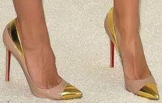 "Kristen Bell in Valentino Mini Dress and Christian Louboutin ""Duvette"" Pumps"