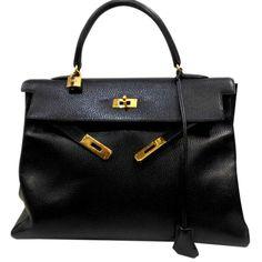 Sacs à main Hermès Kelly Cuir Noir ref.24439 - Joli Closet