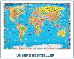 Stunning Illustrierte politische Weltkarte von K uS druckbunt Verlag GmbH
