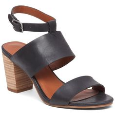 Lucky Brand Women's Jodalee Stacked Heel Leather Sandals ($49) ❤ liked on Polyvore featuring shoes, sandals, brown, open toe leather sandals, brown sandals, stacked heel shoes, leather upper shoes and cushioned sandals
