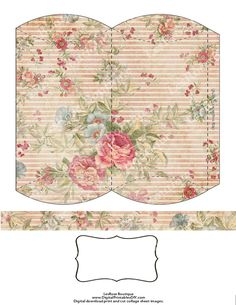 Printable Pillow Box Shabby Florals and Stripes with Matching Band with Label Digital Image Sheet Download Box 25 DIY Print and Cut. $2.50, via Etsy.