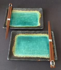 Set of 2 Japanese Dinnerware Green Rust Kosui Crackle Dish Plates w Chopsticks | eBay