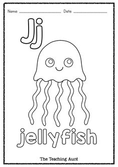Yellow Art, Blue Art, Alphabet Wall Cards, Jellyfish Art, Art And Craft Materials, Train Art, Easy Arts And Crafts, Small Letters, Alphabet Coloring