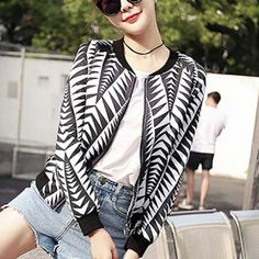 Black and white geometric bomber jacket for women fashion autumn coat