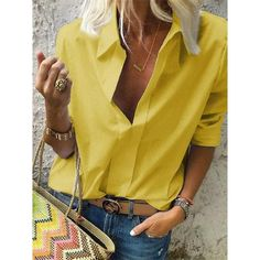 Casual Loose Sexy V Neck Long Sleeve Pure Color Shirt blouse for women chic blouse for women chic casual blouse for women chic style blouse for women chic fashion designers blouse for women chic shirts Mode Outfits, Fashion Outfits, Womens Fashion, Fashion Shirts, Collar Shirts, Shirt Blouses, Casual Shirts, Casual Outfits, Women's Casual