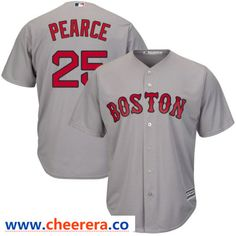 b4b25aaa7  25 Steve Pearce Men s Boston Red Sox Gray Cool Base Road Jersey - Majestic