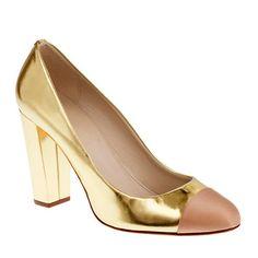 Etta cap toe metallic pumps ~ J Crew Metallic Pumps, Gold Pumps, Metallic Gold, Henri Bendel, Wedge Shoes, Shoes Heels, Flat Shoes, Shoe Gallery, Bags