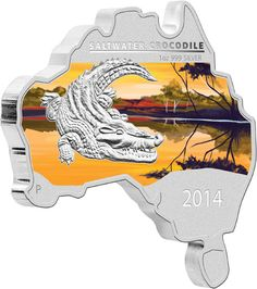 2014 Australian Map Shaped Silver Coin ... Saltwater Crocodile 1oz Silver. The sixth coin from the popular Australian Map Shaped Coin Series features the ferocious Saltwater Crocodile, the world's largest reptile.