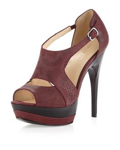 Jacey Cutout Snake-Print Pump, Wine by Pelle Moda at Neiman Marcus Last Call.